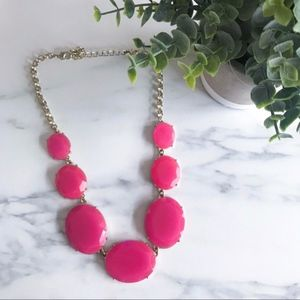 Francesca's Bright Pink Statement Stone Necklace